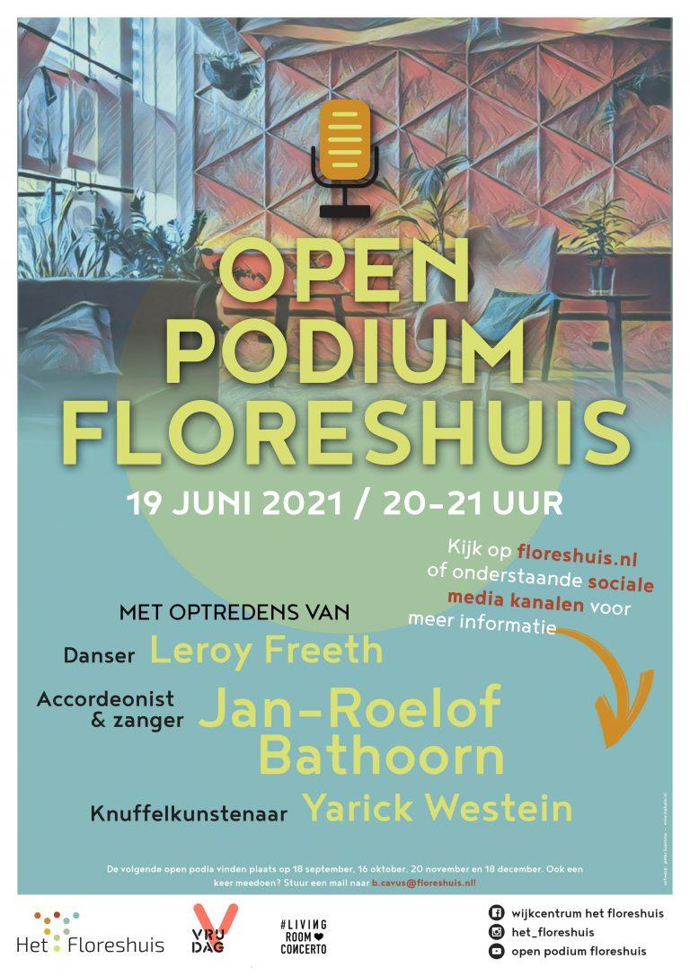 Open podium Floreshuis: 19 juni